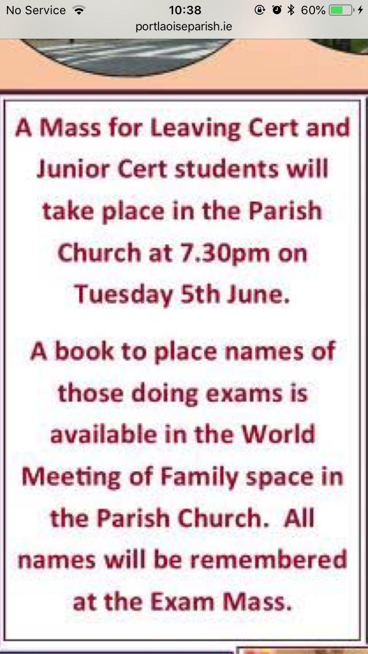 Archived news st marys cbs portlaoise there will be a mass for junior and leaving cert students tomorrow evening in the parish church at 730pm all are welcome to attend fandeluxe Choice Image